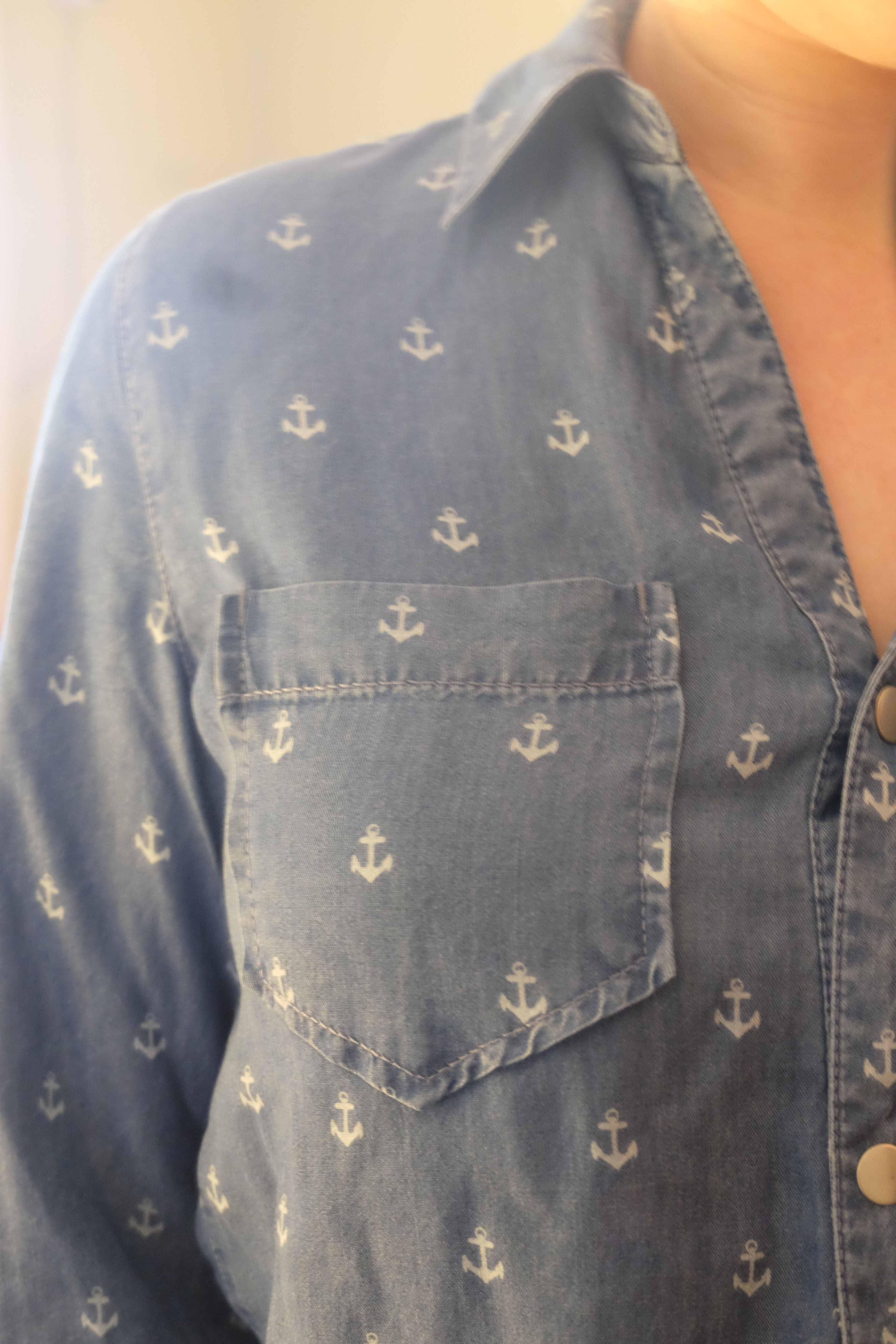 While This Shirt Was Very Soft And The Cut Flattering, The Combination Of  Both The Chambray And Anchor Print Made This Shirt Just Too Preppy For My  Taste.
